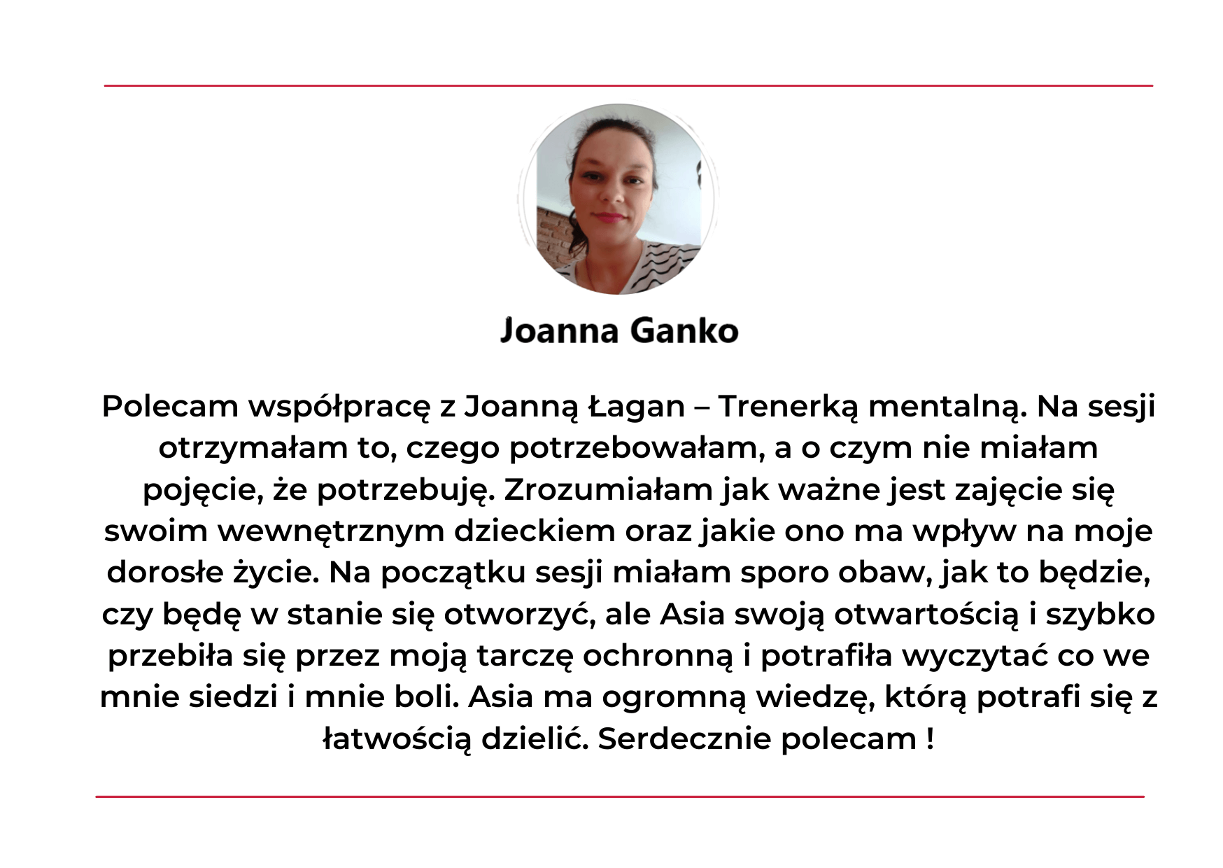 Opinia o treningu mentalnym z Joanną Łagan